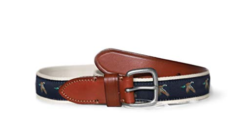 - J.Crew Factory Men's Navy Mallard Duck Canvas Leather Belt (34, Navy Mallard Duck)