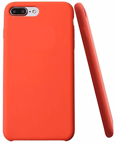 Soft Liquid Silicone iPhone 8 Plus Cover Case Inner Soft Microfiber Cloth Lining Cushion for Apple iPhone 7 Plus/iPhone 8 Plus (Orange)