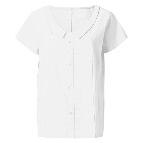 WENSY Women's Summer Solid Color Loose Cotton Linen Casual Buttoned Short Sleeve Top Ladies' Shirt - Decorative Top(White,M) ()