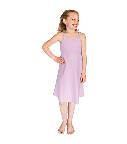 POPINJAY Girls' Spaghetti Strap Cami Summer Dress for Toddlers and Big Kids, Feels Soft and Looks Adorable, Perfect for Spring and Fall - Size 2T - 14 (Lavender, 12)