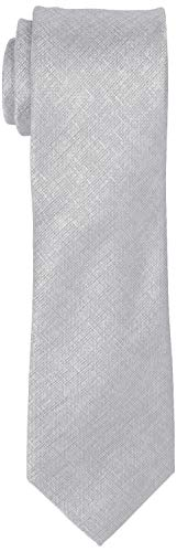 (Kenneth Cole REACTION Men's Double Texture Solid Tie, Silver, One Size )