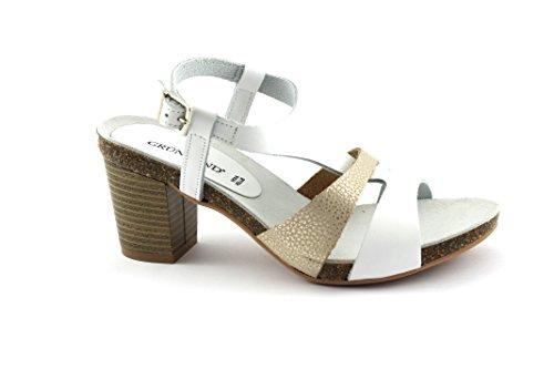 Grünland CIMA SB0701 correa de cuero blanco mujeres de las sandalias de tacón Bianco