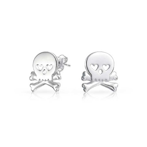 Bling Jewelry Sterling Silver Goth Heart Skull Crossbones Stud Earrings