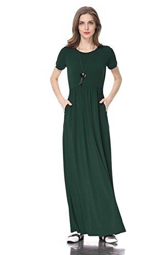 Coreal Women Short Sleeve Loose Plain Maxi Casual Long Dress with Pockets