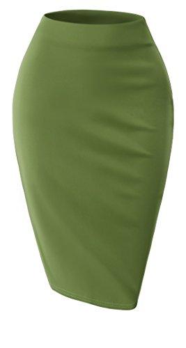 SELOOK Women's Unique H line Skirt-DarkGreen-XL