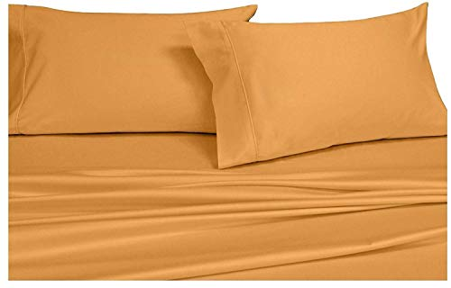 (Royal's Solid Gold 1000-Thread-Count 4pc King Bed Sheet Set 100-Percent Cotton, Sateen Solid, Deep Pocket)