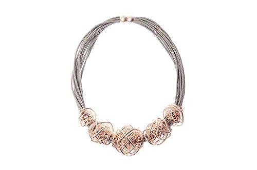 Collier plastron à plusieurs cordons Nœuds en fil doré Rose