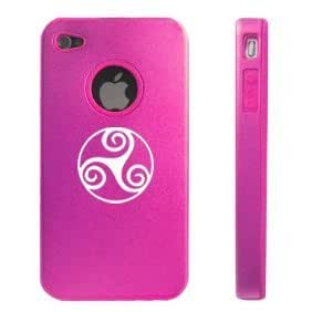 Apple iPhone 4 4S Hot Pink D7174 Aluminum & Silicone Case Cover Triskele Celtic Triskelion
