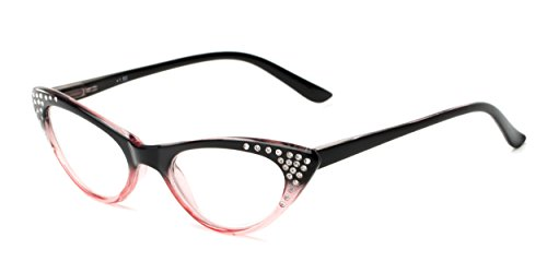 Readers.com The Paulina +1.75 Black/Pink Fade Sparkly Rhinestone Cat Eye Reading - Rhinestone Reading Cat Glasses Eye