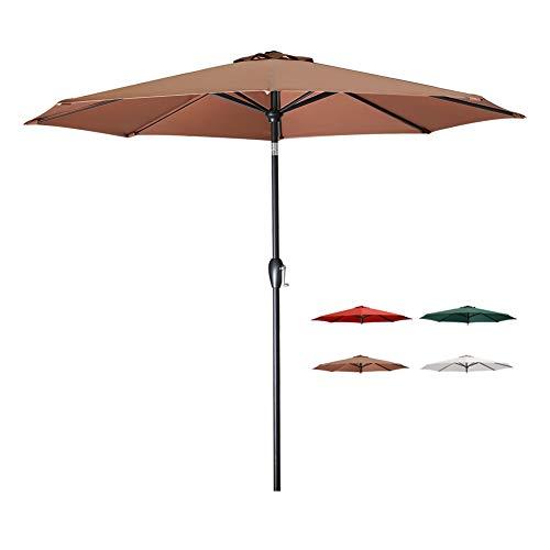 (Tempera Patio Umbrella 9 Ft Outdoor Garden Table Umbrella with Tilt and Crank 8 Ribs in Brown Canopy)