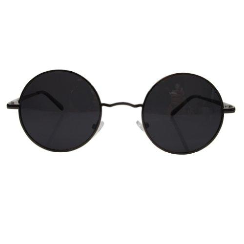 Aoron Vintage Round Sunglasses with Polarized Lenses for Retro Women and Men (Gray Frame)