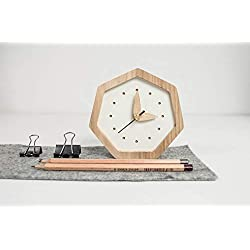 Small Wooden Clock - White Color And Natural Frame Wood - Unique Oak Wood Clock - Diamond Shape Table Clock Colors - White Wooden Table Clock - Exclusive Business Gift With Logo