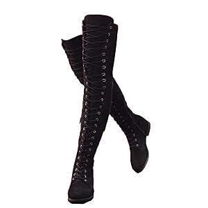 Anokar Botte Hautes Femme Botte Cuissarde Daim Talon Bloc 4CM Causal Zippées Hiver Longue Boots Confortable Botte…