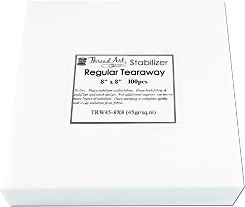 - Threadart Tearaway Embroidery Stabilizer | 1.6 oz Medium Weight | 8