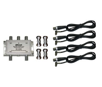 Pixel Technologies SR-4 Amplified Four Way Splitter Kit 4 Way Satellite Radio Splitter