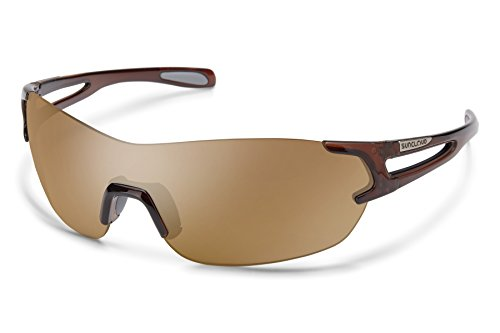 (Suncloud Airway Sunglasses, Crystal Brown Frame/Sienna Mirror Polycarbonate Lens, One Size)