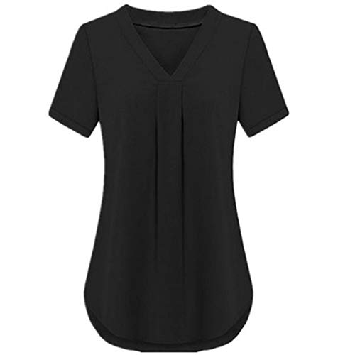 (ALLYOUNG Women's Fashion Summer Casual V-Neck Short Sleeve Comfortable Solid Color Loose Tops Black)