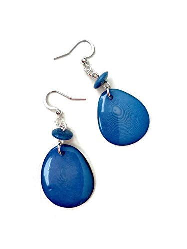 Tagua Nut Earrings in Blue Vegetable Ivory Dangle Earrings Tag220