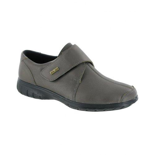 Femmes Cotswold Chaussures En Cuir Cranham Chaussures Imperméables Velcro Gris Foncé Semi-
