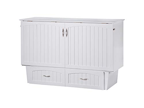 (Atlantic Furniture AC5940002 Nantucket Murphy Bed Chest with Charging Station & Mattress, Queen, White)
