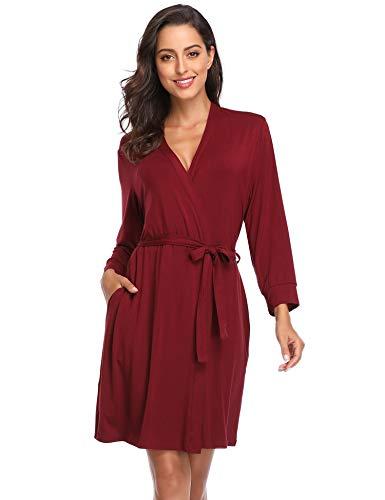Lusofie Women Soft Robe Kimono Knit Sleepwear Bridesmaids Spa Robe Short Bathrobe(Wine red, XXL)