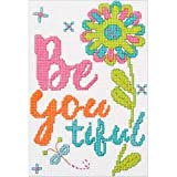 2 Item Bundle: Be Youtiful Cross Stitch Kit and 5 x 7 Adhesive Mounting Board