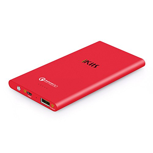 iKits Fast Charge 3.0 Ultra Slim Power Bank 5000mAh External Extended Battery Pack Input: 3.0, Output:2.0+Smart for iPhone/iPad, Samsung Galaxy Google Nexus & more Orange+Cable