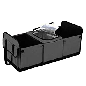"""Oguine Collapsible Car Trunk Organizer with Insulated Cooler, 23.6"""" x 12.2"""" x 11"""" Multipurpose Storage Basket Auto Travel Bag for SUV Truck"""