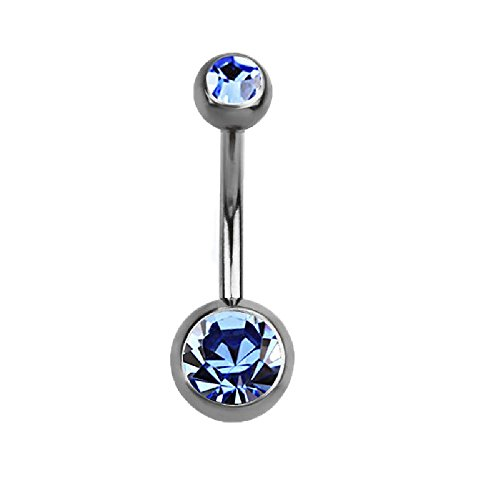Pierced Owl Double Crystal Sterilized G23 Titanium Belly Button Ring (Blue)
