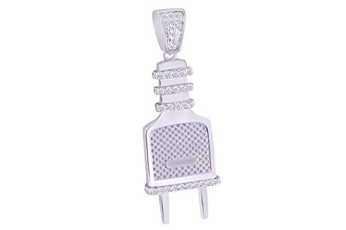 - Christmas Sale 1/4 Cttw White Natural Diamond Iced Out Hip Hop Jewelry Switch Plug Pendant In 10k Solid White Gold (0.25 Cttw)