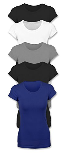 Sexy Basics Womens 5 Pack Casual & Active Basic Cotton Stretch T Shirts