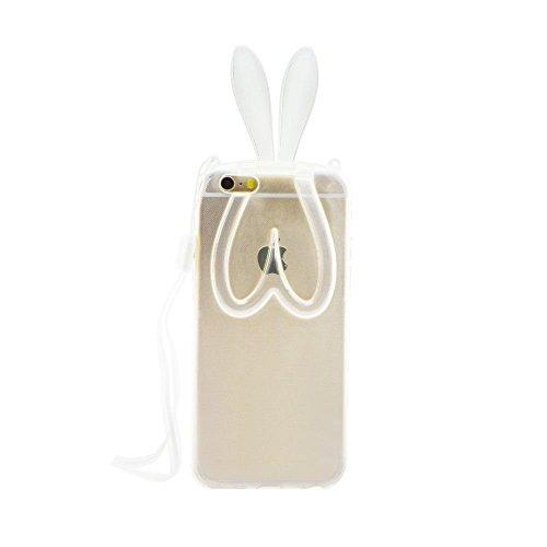 BACK CASE 3D BUNNY OHREN grau transparent für Iphone 4 Hülle Cover Case Schutzhülle Tasche Teddy