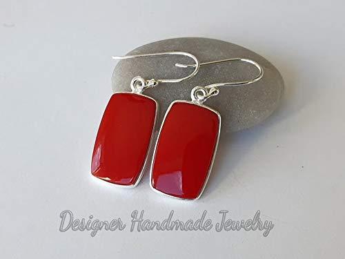 Red Coral Earrings, 925 Sterling Silver, Boho Earrings, Rectangular Shape, Gift For Her, Dangle Silver Earrings, Handmade Earrings