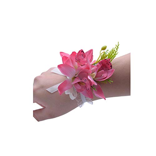 Artificial Wrist Corsage Wedding Bouquets Bridesmaid Hand Flowers Bride Flowers for Dancing Party Decor Prom Accessories,Black ()