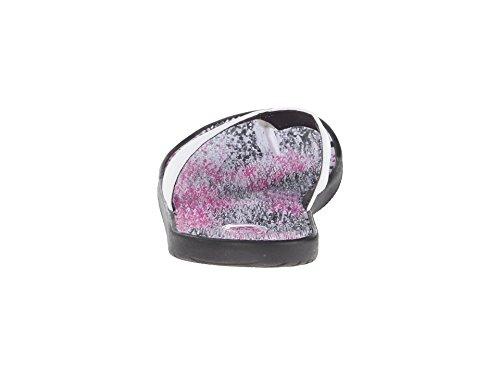 adidas Women's adissage Thong Graphic W Black/White/Bahia Magenta Sandal 6