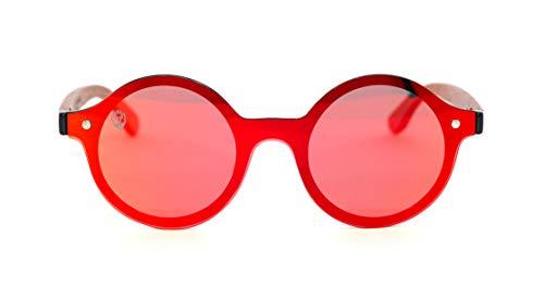 Óculos de Sol de Acetato com Madeira Mulan Red, MafiawooD