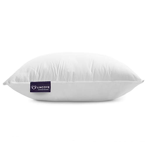 Lincove White Down Luxury Sleeping Pillow Set of 2-800 Fill Power, 600 Thread Count Cotton Cover (Queen - Medium)