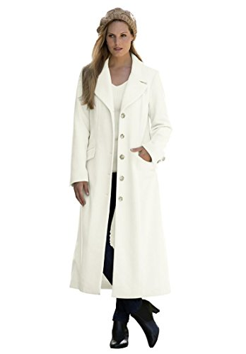 Jessica London Women's Plus Size Long Wool-Blend Coat With Notch Collar – 12, Ivory