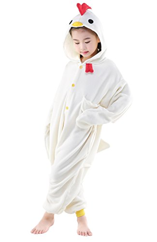 NEWCOSPLAY Kids Chicken Animal Onesie Pajama Costume (White Chicken, 115) -