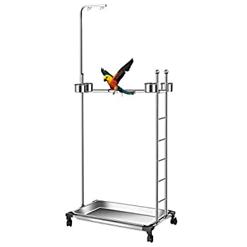 Image of Pet Supplies Olpchee Stainless Steel Large Parrot Stand,Bird Play Stand Parrot Playstand Parrot Training Perch Stand with Feeding Bowls,Height 57 Inch