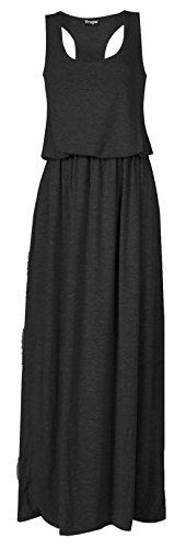 [Women's Toga Long Vest Maxi Puff Ball Ladies Dress Plus Size] (Black Toga Dress)