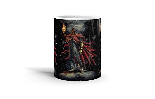 Ceramic Coffee Mug Gamer Video Game Cup Vincent Valentine Epic Fire Materia Inspired Gaming Computer Drinkware Super White Mugs Family Gift Cups 11oz 325ml ()