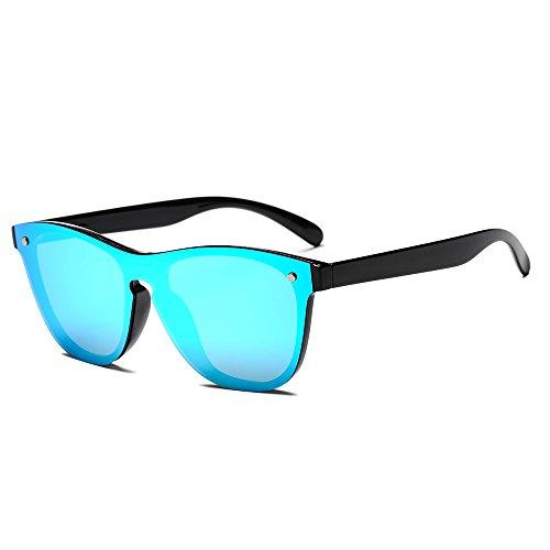 SUERTREE Fashion Sumer Sunglasses Cute Women Men Shades Retro Rimless Eyeglasses JH9004 (Black Frame, Blue Mirror)