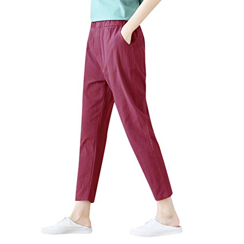 FEDULK Plus Size Womens Trousers Comfort Flowy Casual Solid Colour Wild Loose Pants(Red, Large)