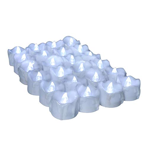 Youngerbaby 12PCS LED Tea Lights with Timer Cool White Flickering Timing Function Flameless Small Candles with Timer(6 hrs on 18 hrs Off),Battery Operated Electronic Candles
