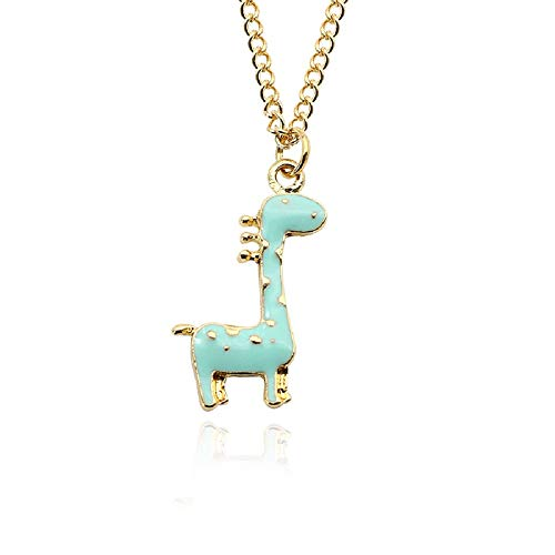 MUYUN Fashion Cartoon Spotted Giraffe Necklace Colorful Enamel Animal Pendant Jewelry (Blue)
