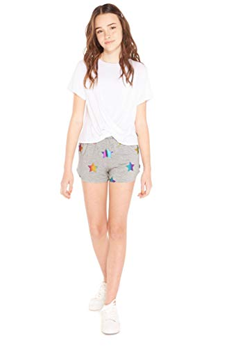(Terez Girls Foil Printed French Terry Shorts (Rainbow Stars, 14 - Large))