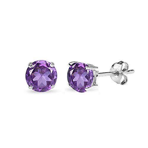 (Sterling Silver African Amethyst 5mm Round-Cut Solitaire Stud Earrings for Women)