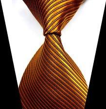 jacob alex #38797 Classic Necktie Orange&Gold Striped Ties WOVEN JACQUARD Silk Men's Suits (Long Halloween Trilogy)
