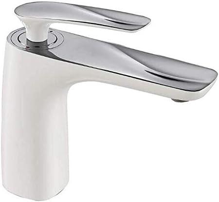 水タップ(白+クロム銅ペイント洗面器の蛇口のホットとコールドの洗面器の蛇口1つの穴の洗面器の蛇口の段階実用的なキッチン浴室用品キッチン浴室用品